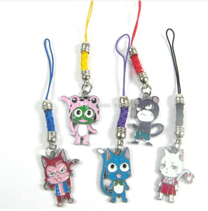 New Design!Anime FAIRY TAIL Keychains Natsu Happy Lucy Metal Pendants & Phone Straps 3style Can Choose