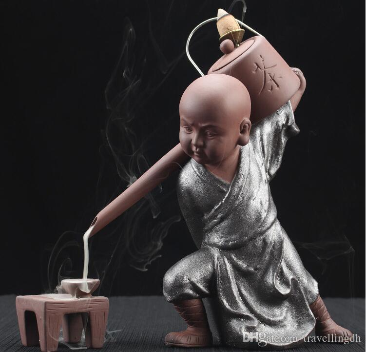 Creative Kung fu Monk Tea Ceremony Ceramics Yixing Aroma Censer Backflow Incense Burner Buddha Purple Clay Pottery Incense Base+cones