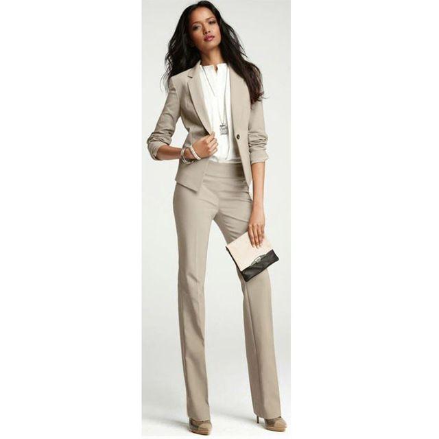 Light Brown Set Womens Business Suits Ladies Office Uniform Elegant