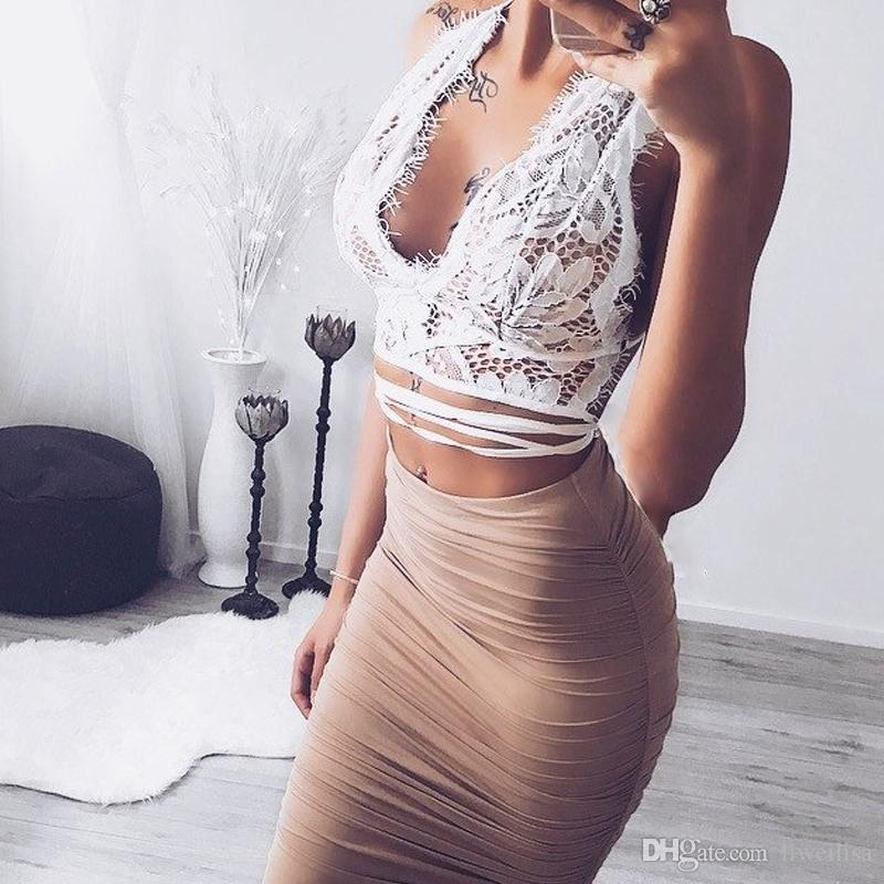 Qunndy Moda Sexy Oco Out Floral Bralett Casual Top Mulheres Push Up Top Colheita Blusas Camisa Backless Lace Bralette Undreware