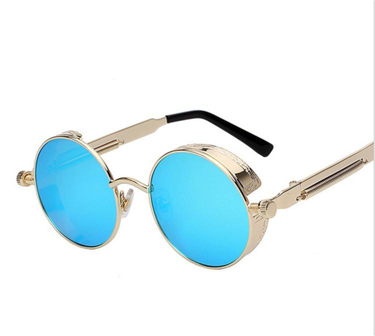 2913b40a43b1 Round Metal Sunglasses Steampunk Men Women Fashion Glasses Brand ...