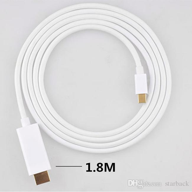 1.8M 6FT Thunderbolt Mini Displayport DP a HDMI Cable adaptador macho a hembra para Apple Macbook Pro Air con embalaje al por menor