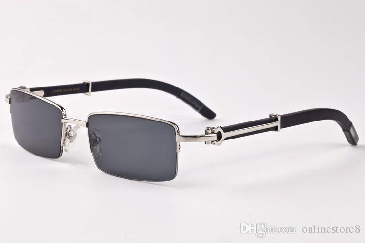 نموذج الساخنة مرآة عادي نظارات الرجال النظارات ديكور سبيكة إطار شبه بدون بافالو الخشب الساقين الرجال النظارات هلالية دي سولي أوم