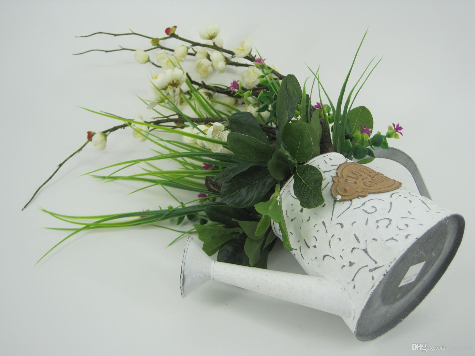 Piante artificiali con piatti in lamiera zincata Bonsai bianchi Pianta in vaso lavata bianca feste nuziali Special giorni Home Decor 125 -1005