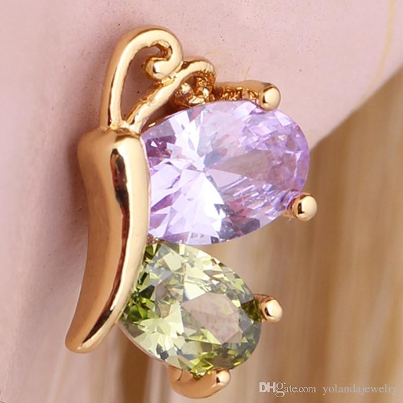 Papillon Boucle D'oreille 18K Or Jaune Plaqué Boucles D'oreilles pour bébé Enfants Filles Femmes Boucles D'oreilles Lovery Bijoux Cadeau
