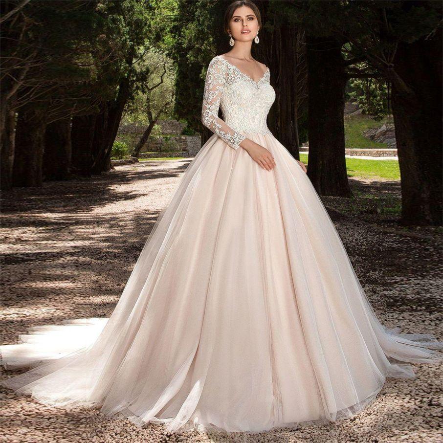 Discount Tulle Long Sleeve Blush Color Wedding Dress V Neck Ball ...