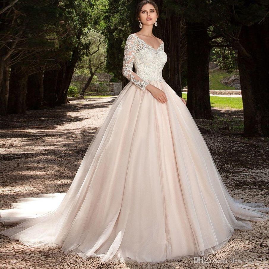 Tulle manga comprida blush cor vestido de noiva com decote em v vestido de baile apliques de renda casamento vestidos de noiva ilusão voltar vestido de noiva