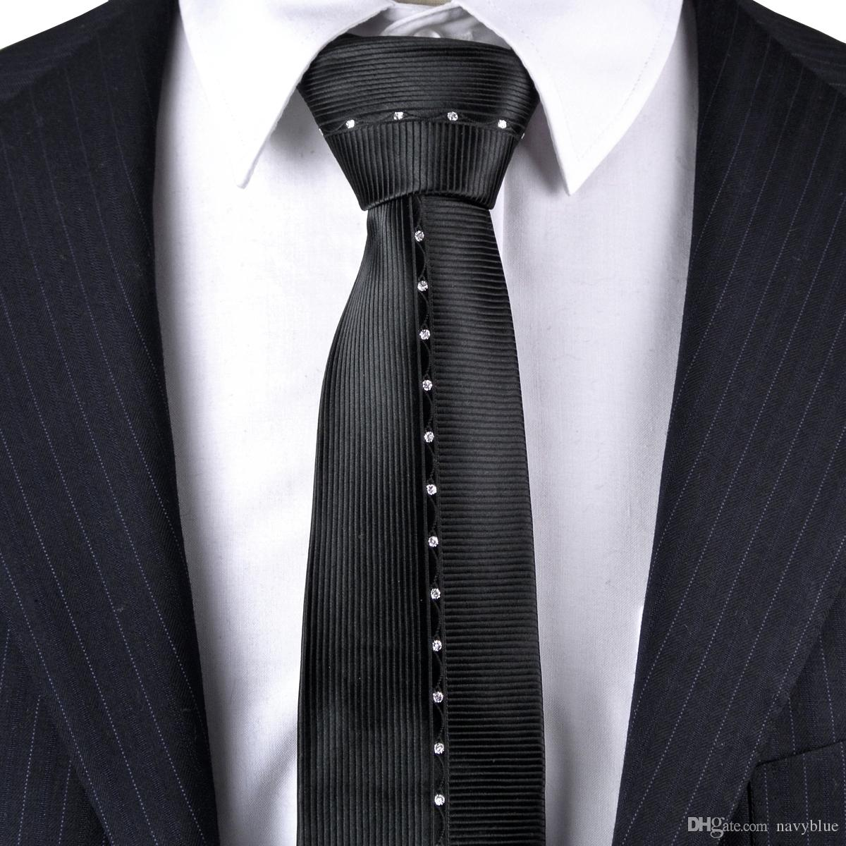vraie affaire choisir le plus récent acheter maintenant Skinny Tie Solid Polka Dots Noir Blanc Hommes Cravates Cravates Slim 100%  Soie Jacquard Tissé Livraison Gratuite En Gros À La Main