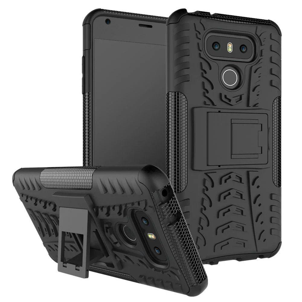 Bländande tunga robust dubbelskikt Impact Armor Kickstand Case Cover för LG K31 K41S K51 STYLO 6 /
