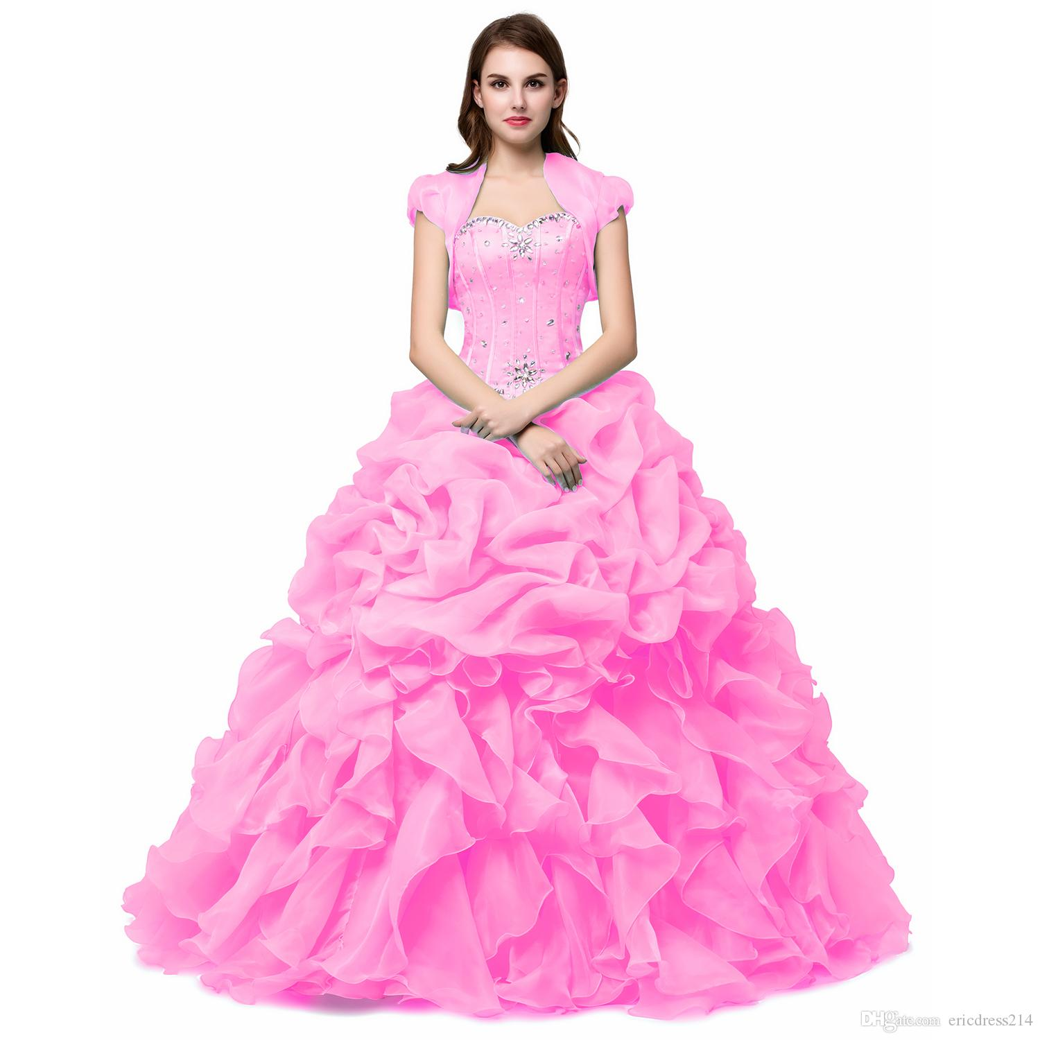 Cheap Ball Gowns Sweet 16 Long Light Green/Pink/Yellow Girl Quinceanera Dresses With Jacket Wrap Vestidos De 15 Anos Formal Prom Dresses