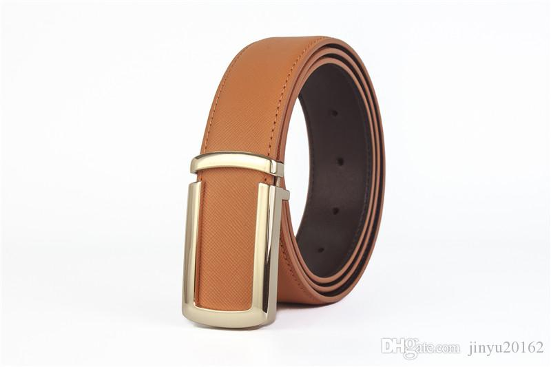 2019 erkek moda erkekler için 100% Hakiki Deri kemerler Yüksek kaliteli metal pürüzsüz toka Kayış erkek Kot kovboy ücretsiz kargo