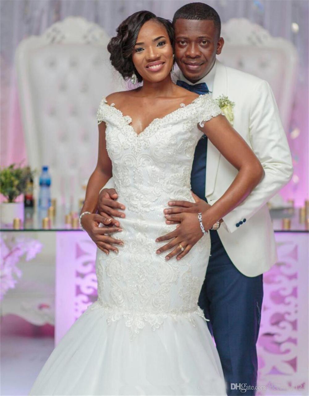 Vintage Cap manches 2019 dentelle col en V sur mesure Bohème Boho trompette plus la taille robes de mariée robes de mariée africaine