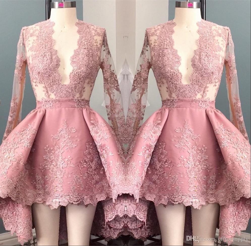 Hi Lo Pink Long Sleeves Appliques Homecoming Cocktail Dress 2017