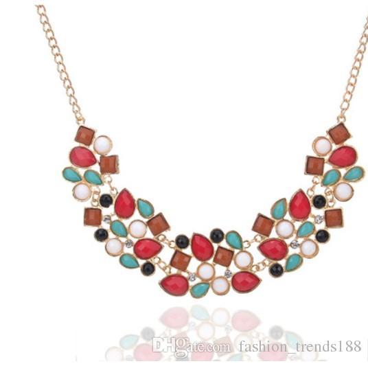 Shinning Crystal Bib Statement Necklaces Geometric Stitching ... ab43080b2176