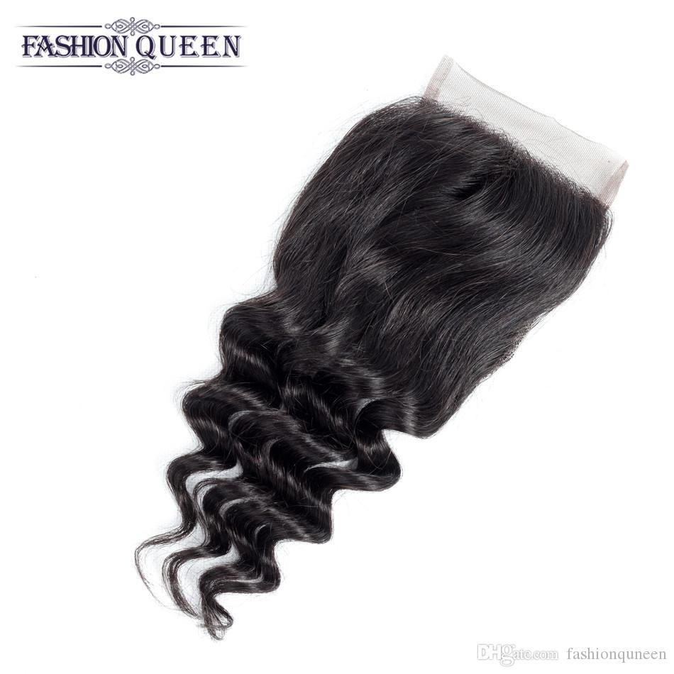 Brazilian Virgin Hair 4 Bundles With Closure Loose Curly Brazilian Loose Wave With Closure Human Hair Weaves 4*4 Lace Closures