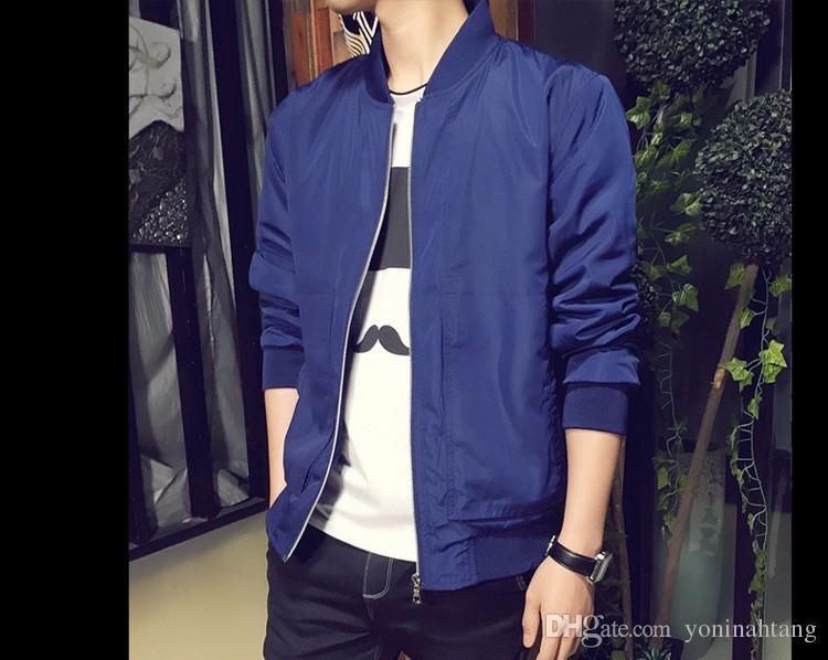 Toptan ücretsiz shippingNew Varış Bahar erkek Ceketler Katı Moda Mont Erkek Casual Slim Standı Yaka Ceket Erkekler Outerdoor Palto