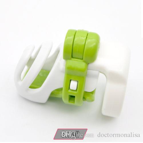 Доктор Мона Лиза - новое прибытие мужской смолы прокол ПА зеленый белый целомудрие клетка устройство пояса с четырьмя кольцами комплект связывание см игрушки