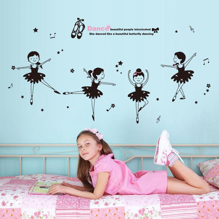 Cute Girl Dancing Wall Sticker Diy Self Adhesive Cartoon Wall Art