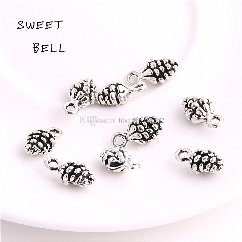 SWEET BELL Min order 5*7*13mm four color Zinc Alloy 3D pine cone charm for diy jewelry making charms D6135