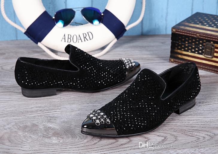 Bling Rhinestone nueva marca 2017 zapatos de cuero de vaca patrón de fruta dedo del pie puntiagudo Genunie cuero hombres Pisos buena calidad talones planos zapatos de moda