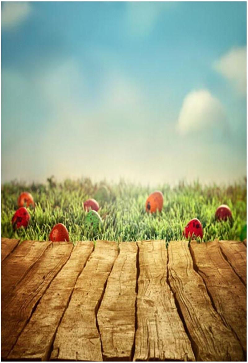 Happy Easter Day Photography Backdrops Wood Floor Blue Sky Green Grassland Colorful Eggs Kids Children Photo Studio Background