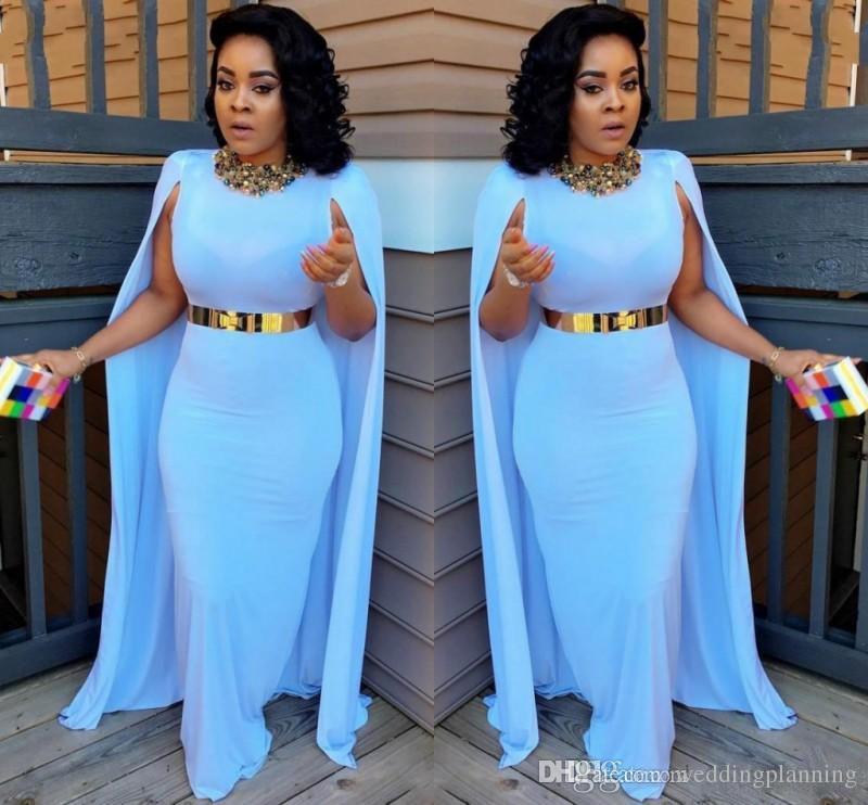 Светло-синий плюс размер накидка на мыс вечернее платья 2017 ножна длиной до пола вечерние платья aso ebi южноафриканские женщины формальные партии платья