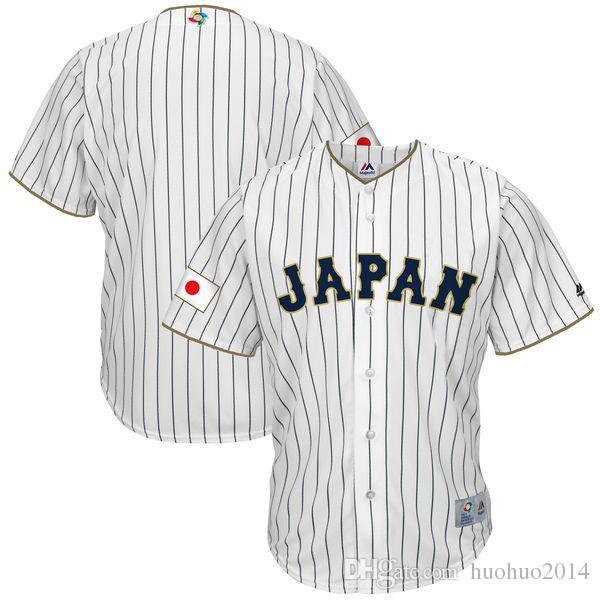 Männer Japan 2017 World Baseball Classic Jersey Weiß 100% Stiched Stickerei Logos Kundenspezifische Coole Base Team Trikots