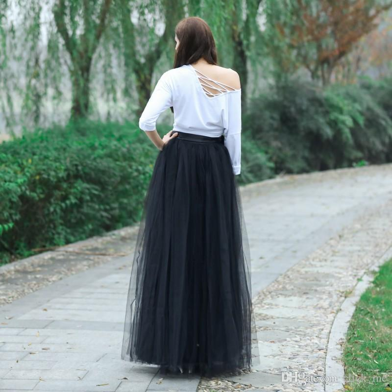 Real Images Long Skirts With Ribbon A line Tulle Layers Tulle tutu Women Skirts Wedding Guest Dresses Formal Dresses party Gowns