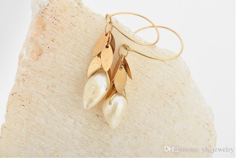 Exclusive new multi-layer petal type tassel hanging natural pearl pendant drop dangle earrings delicate women girls jewelry gift