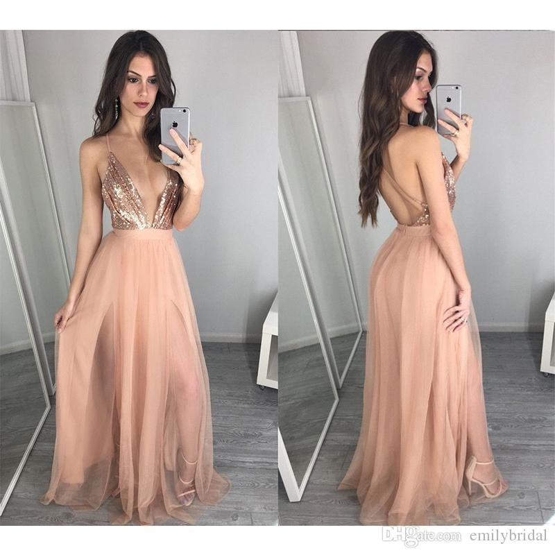 Rose gold sequin tulle dress