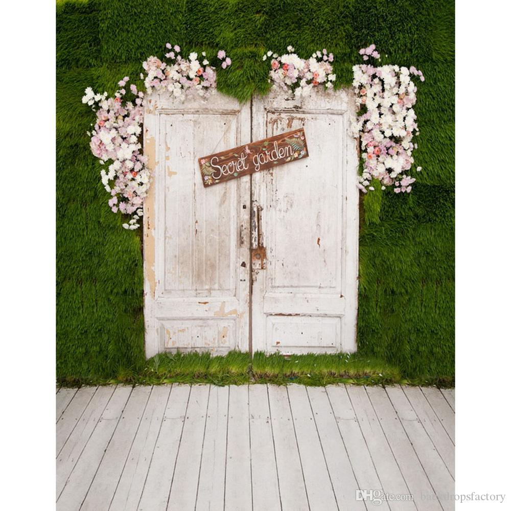2019 White Door Green Wall Photography Backdrops Wooden
