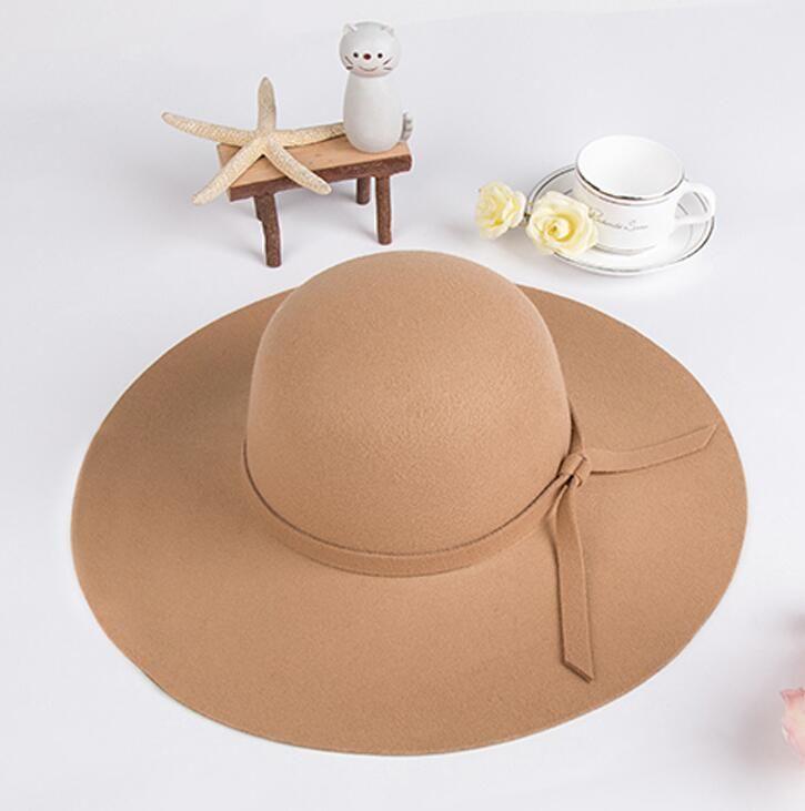 cb21d0667 Summer Ladies Women Beach Sun Hats Floppy Wide Large Brim Cloche Bowler  Wool Cap
