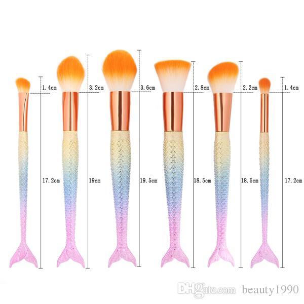 6 pz / set pennelli trucco professionale mermaid handle design personal blush fondotinta in polvere contorno ombretto sopracciglio sfumatura strumento cosmetico