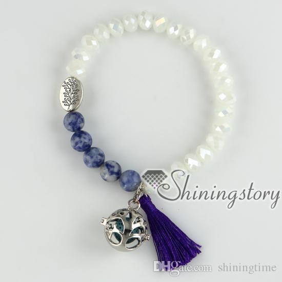 pulseras con borlas pulsera de aromaterapia aceite difusor joyería budista rosario cuentas de yoga pulseras