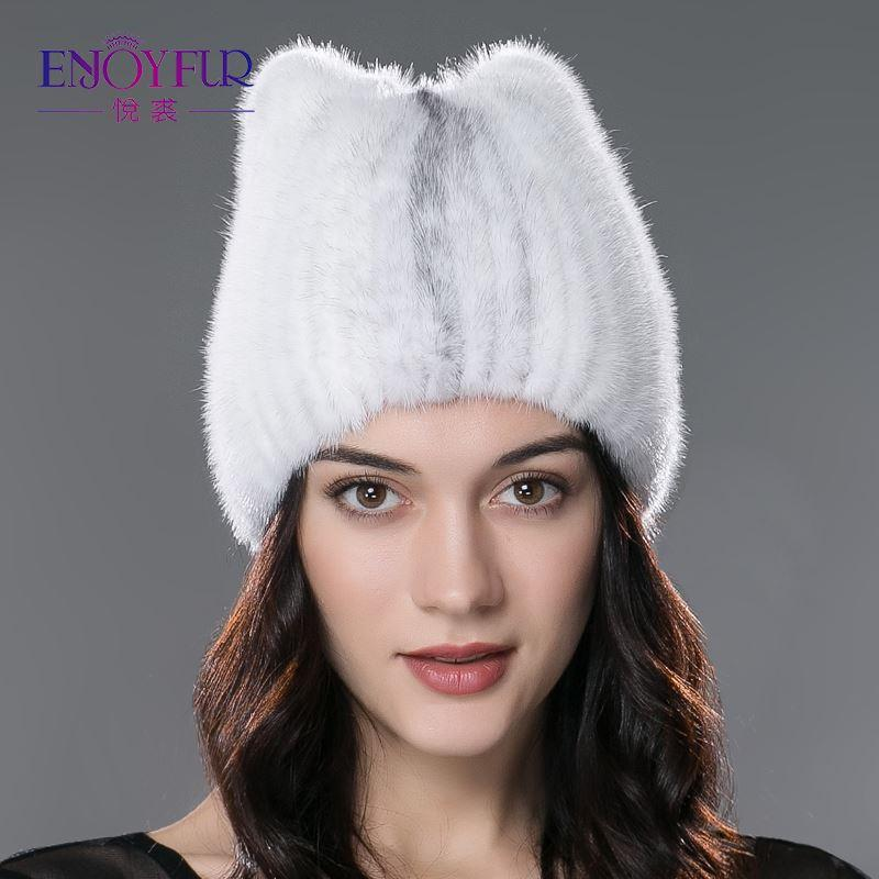 Winter fur hat for women real mink fur strip cap solid casual hats knitted beanies 2017 brand new fashion headgear for lady
