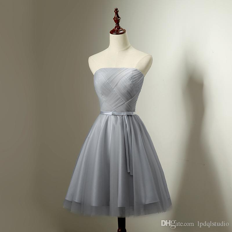 Gris clair robes de demoiselle d'honneur longueur genou robe pourpre invité de mariage sexy bustier à lacets avec fermeture éclair Durée du genou