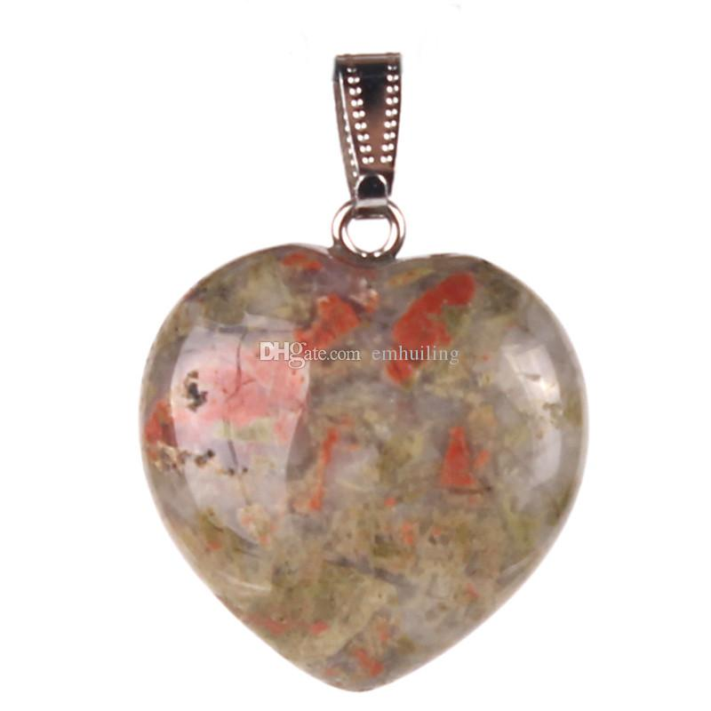 "Classic Eternity Love ""The Heart of Ocean""Pendant Made of Blue Sand Stone Snowflake Obsidian Unakite Carnelian Mixed Random Color Best Gift"
