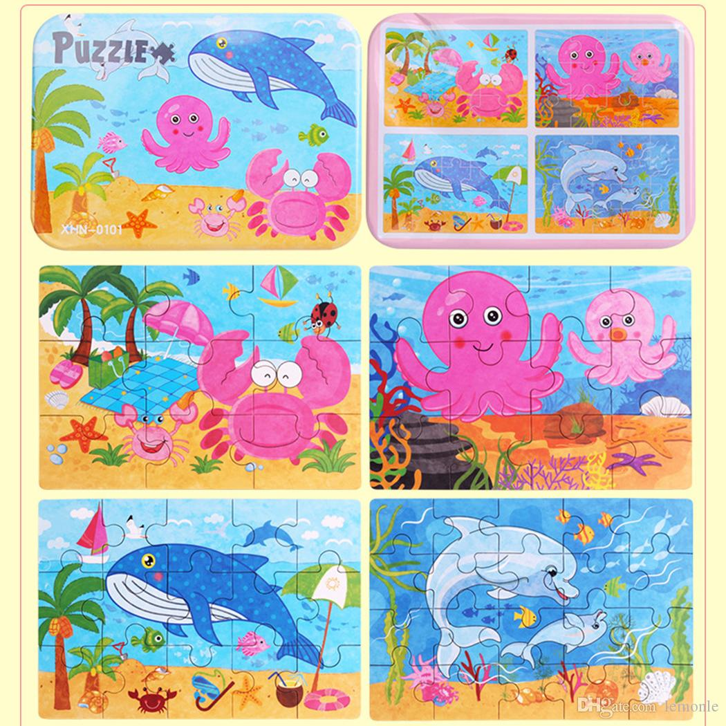 Wooden Puzzle Cartoon Toy 3D Wood Puzzle Iron Box Package Jigsaw Puzzle for Child Educational Montessori Wood