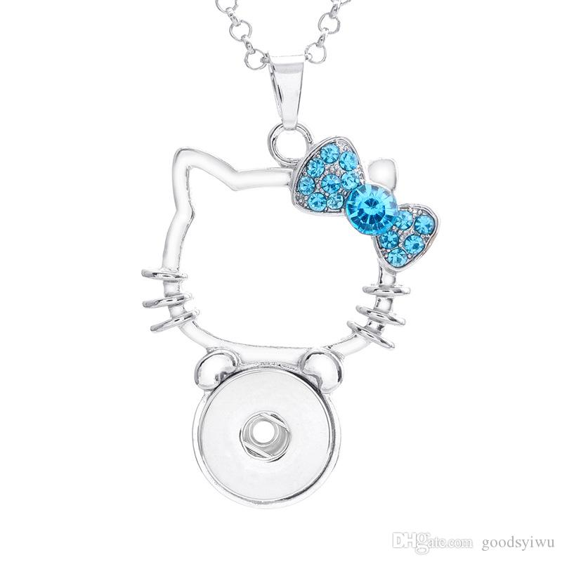 Noosa Lucky Crystal Hello Kitty Cat Shaped 18mm Snap button Pendant necklace with stainless steel chain wholesale