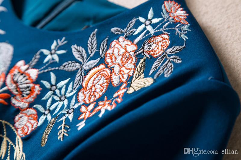 2017 Embrodiery Femmes Fourreau À Manches Courtes OL Bureau Lady Robes De Travail 094A685