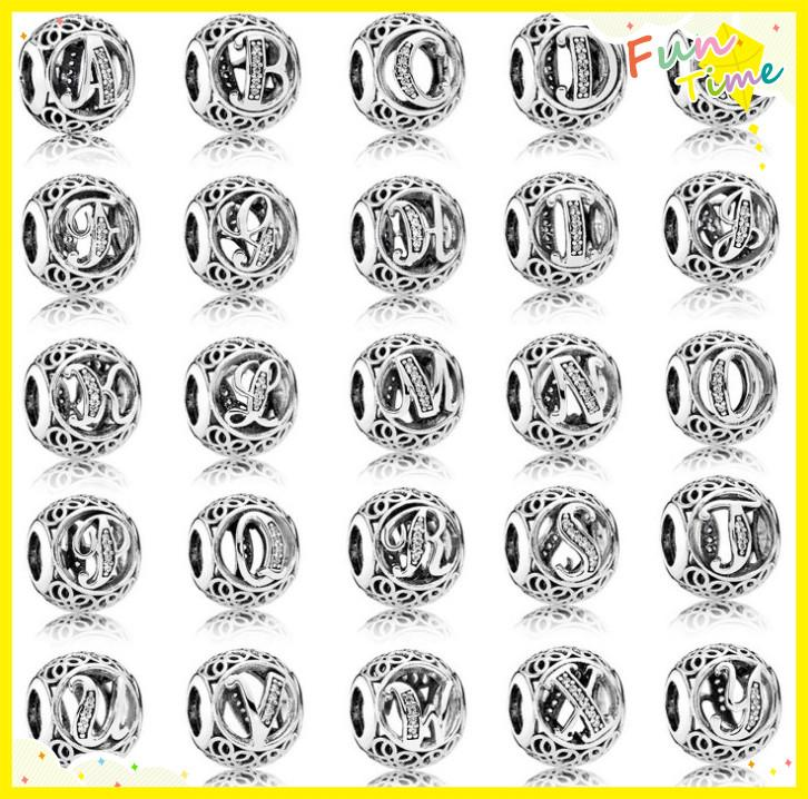 TopeasyJewelry Vintage 26 Letters Openwork Charms Bead 100% 925 Sterling Silver Zircon Alphabet A Beads For Women Bracelet Jewelry Making