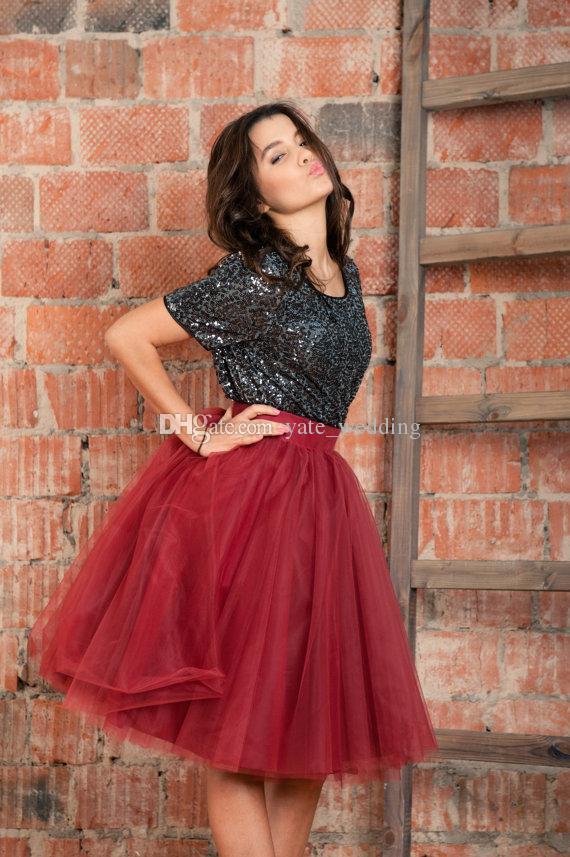 Burdeos rojos tutu faldas de tul para las mujeres de cintura alta con forro hasta la rodilla vestidos de fiesta Faldas Poofy Girls Prom