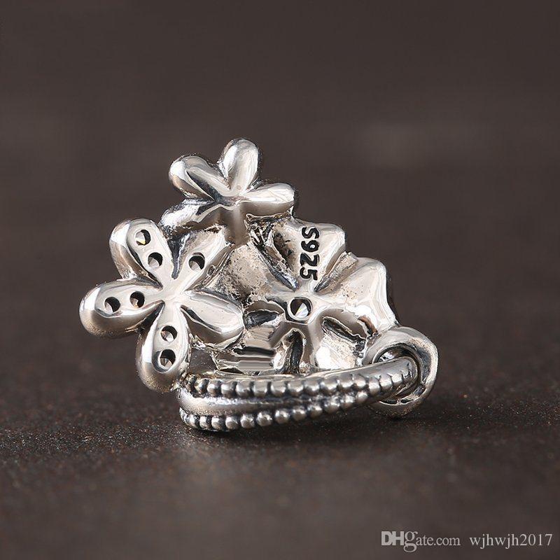 Yeni Koleksiyon Otantik 925 Ayar Gümüş Şiirsel Bloom Emaye Çiçek Dangle Charms Fit Boncuk Bilezik DIY Güzel Takı Yapımı HB632