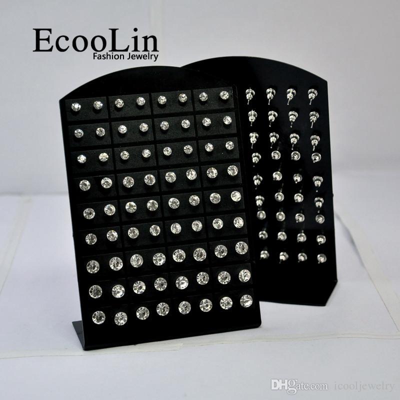 1 Conjunto de Moda Hot Rhinestone Zirconia Brinco de Aço Inoxidável para as Mulheres Placas de Exibição de Jóias Por Atacado Lotes LR285 Frete Grátis