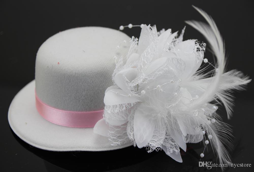 13cm Fashion Lady's Mini Hat Hair Clip Feather Rose Pearl Top Cap Lace fascinator Costume Accessory bride headdress Plumed Hat