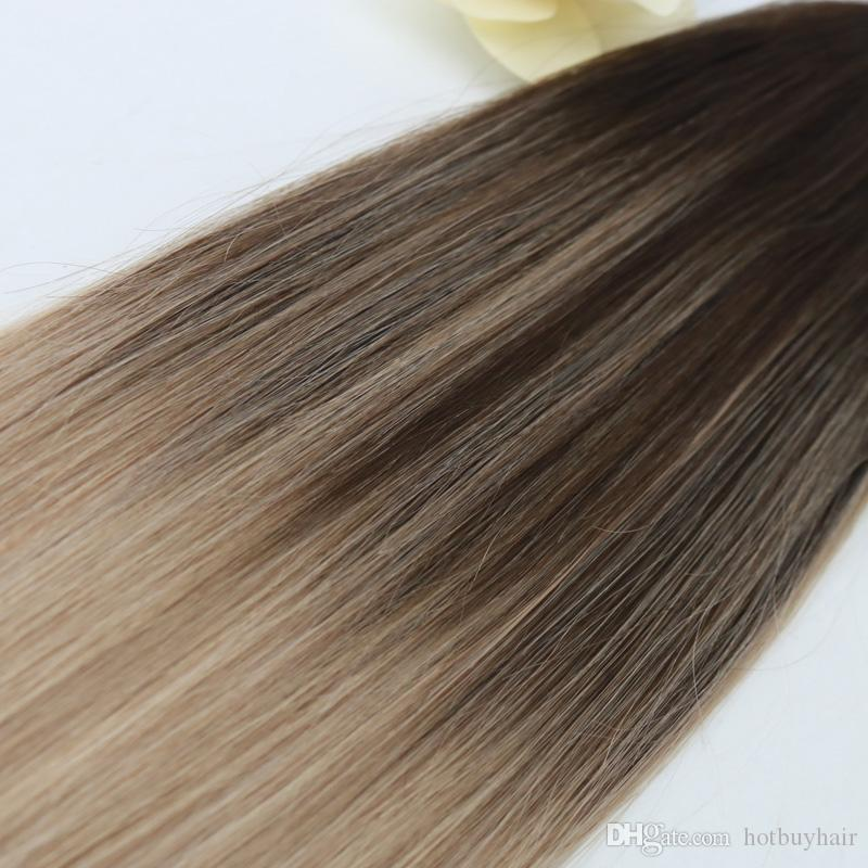 Easy To Dye African American Human Tape Hair Extensions Brazilian Hair Weave Balayage Color #4 Fading to #18 in Stock