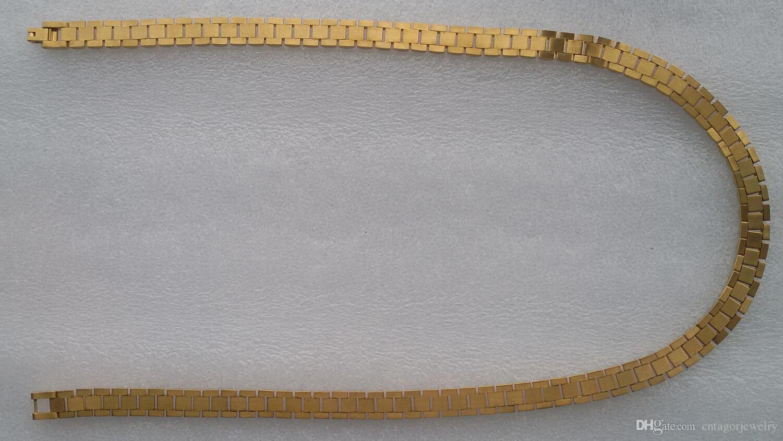 Новый супер благородный мужская нержавеющая сталь 316L 18K твердого желтого золота PVD покрытие Ro lex смотреть Band ссылка ожерелье