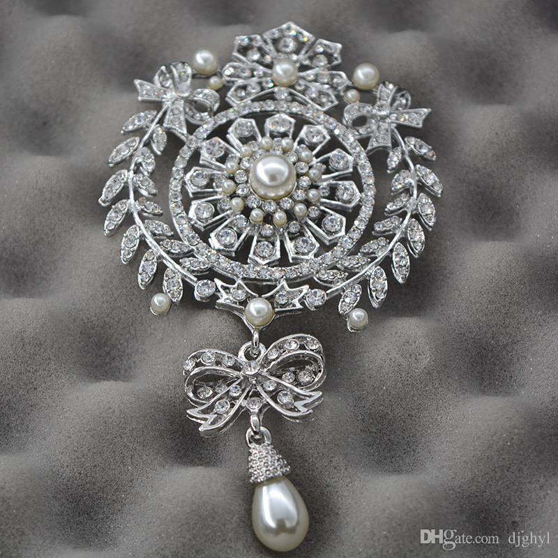 Star Jewelry Shining Beautiful Silver Clear Rhinestone Crystal Small Flower Pearl Brooch Pin Clothing Accessories For Wedding Women Pins