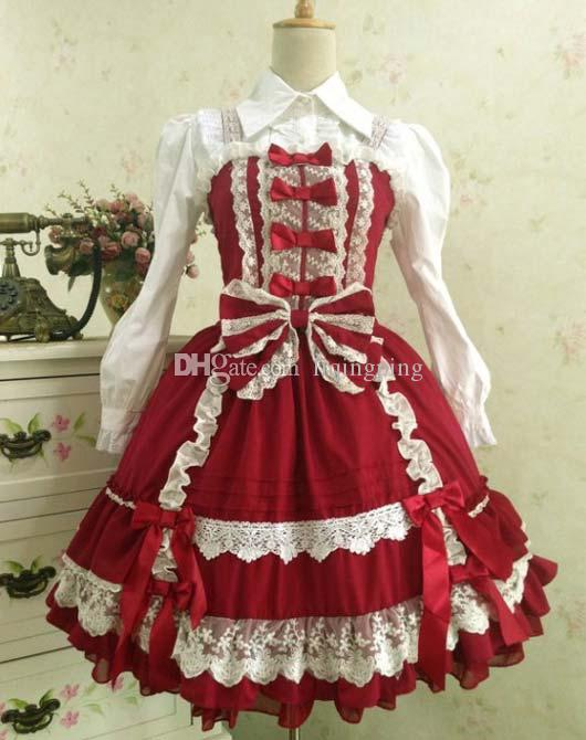 Brand New 2017 Red & Navy Sleeveless Strapless Lace Gothic Victorian Lolita Dress For Women Customized