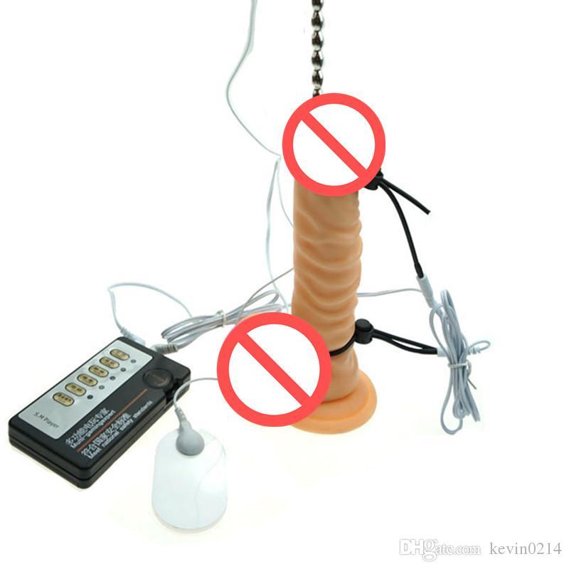 3in1 전기 충격 페니스 링 + 요도 벽 페니스 플러그 + 질 패드 커플 성인 섹스 토이 I9-1-28 가정용 의료 장비
